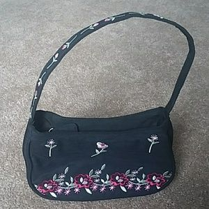 Floral embroidered black bag